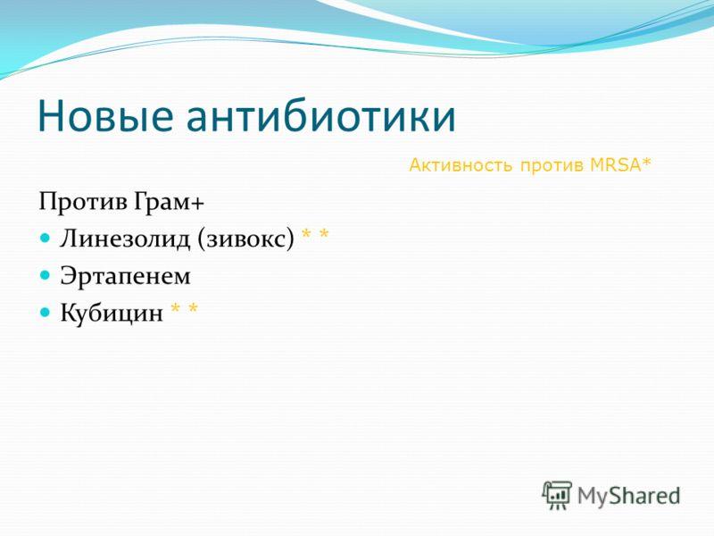 Новые антибиотики Против Грам+ Линезолид (зивокс) * * Эртапенем Кубицин * * Активность против MRSA*