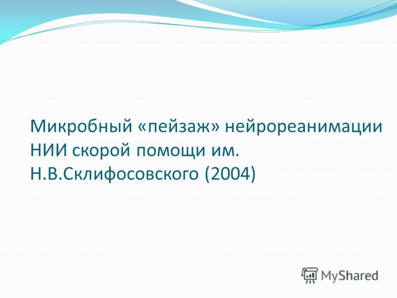 Микробный «пейзаж» нейрореанимации НИИ скорой помощи им. Н.В.Склифосовского (2004)