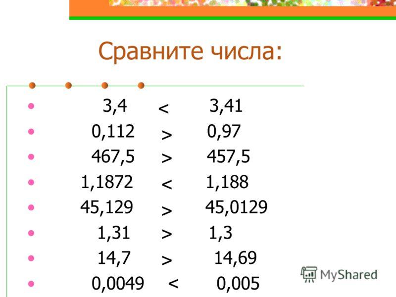 Сравните числа: 3,4 3,41 0,112 0,97 467,5 457,5 1,1872 1,188 45,129 45,0129 1,31 1,3 14,7 14,69 0,0049 0,005 > < > > > < >