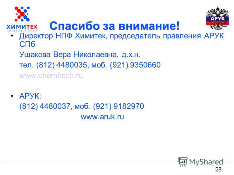 28 Спасибо за внимание! Директор НПФ Химитек, председатель правления АРУК СПб Ушакова Вера Николаевна, д.х.н. тел. (812) 4480035, моб. (921) 9350660 www.chemitech.ru АРУК: (812) 4480037, моб. (921) 9182970 www.aruk.ru