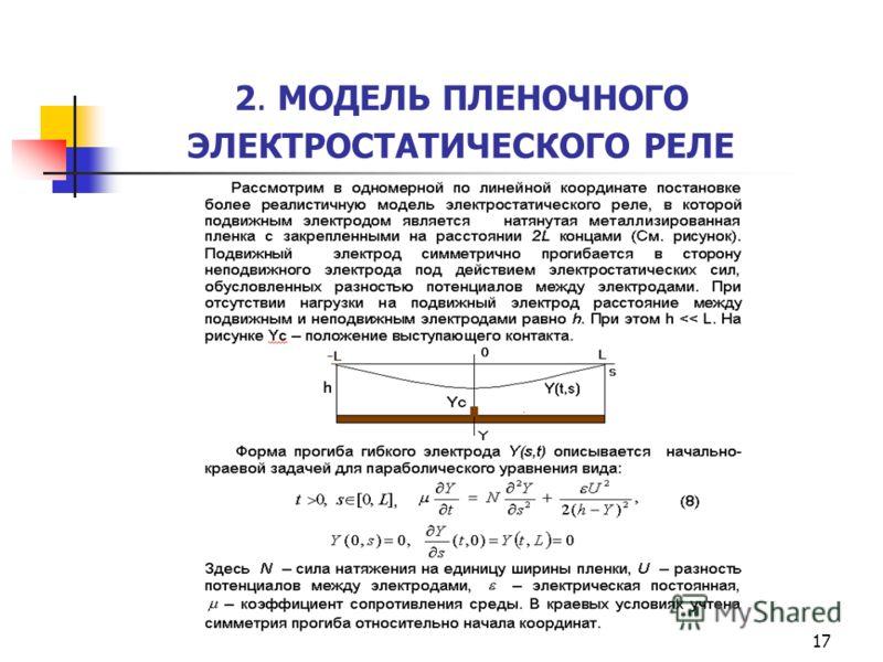 17 2. МОДЕЛЬ ПЛЕНОЧНОГО ЭЛЕКТРОСТАТИЧЕСКОГО РЕЛЕ