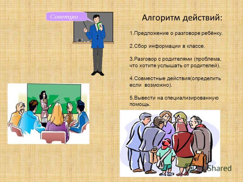Алгоритм действий: 1.Предложение о разговоре ребёнку. 2.Сбор информации в классе. 3.Разговор с родителями (проблема, что хотите услышать от родителей). 4.Совместные действия(определить если возможно). 5.Вывести на специализированную помощь.