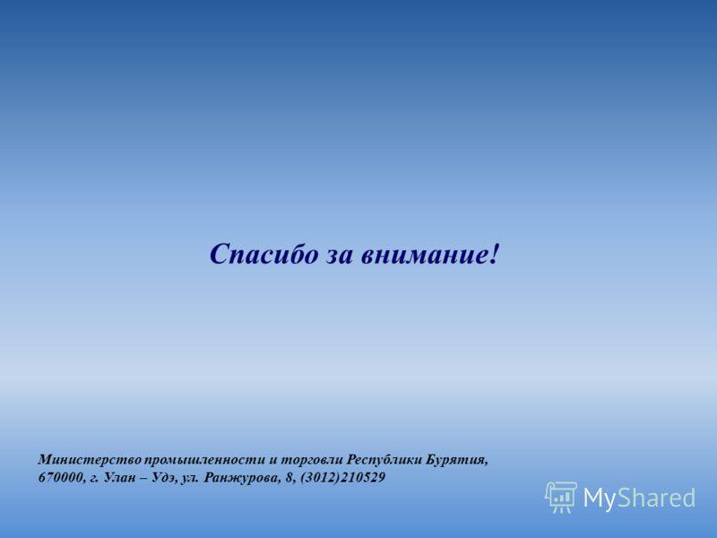 Спасибо за внимание! Министерство промышленности и торговли Республики Бурятия, 670000, г. Улан – Удэ, ул. Ранжурова, 8, (3012)210529