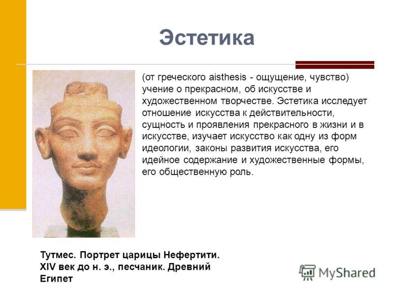 Эстетика (от греческого aisthesis - ощущение, чувство) учение о прекрасном, об искусстве и художественном творчестве. Эстетика исследует отношение искусства к действительности, сущность и проявления прекрасного в жизни и в искусстве, изучает искусств