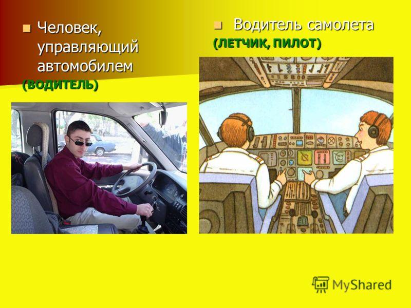 Человек, управляющий автомобилем Человек, управляющий автомобилем(ВОДИТЕЛЬ) Водитель самолета Водитель самолета (ЛЕТЧИК, ПИЛОТ)