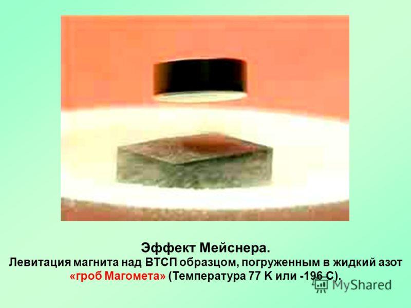 Эффект Мейснера. Левитация магнита над ВТСП образцом, погруженным в жидкий азот «гроб Магомета» (Температура 77 K или -196 C).