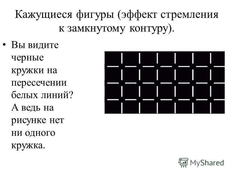 Кажущиеся фигуры (эффект стремления к замкнутому контуру). ру Вы видите черные кружки на пересечении белых линий? А ведь на рисунке нет ни одного кружка.