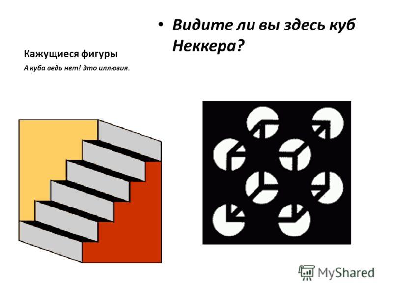 Кажущиеся фигуры Видите ли вы здесь куб Неккера? А куба ведь нет! Это иллюзия.