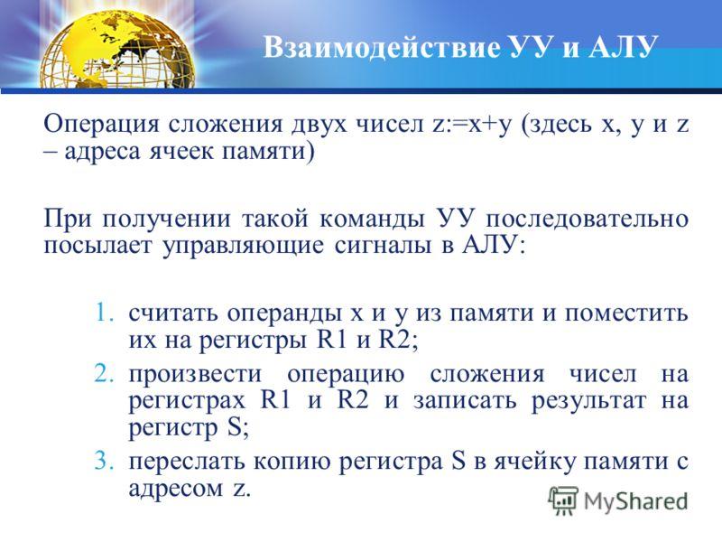 Взаимодействие УУ и АЛУ Операция сложения двух чисел z:=x+y (здесь x, y и z – адреса ячеек памяти) При получении такой команды УУ последовательно посылает управляющие сигналы в АЛУ: 1.считать операнды x и y из памяти и поместить их на регистры R1 и R