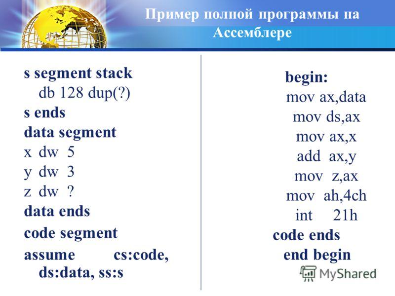 Пример полной программы на Ассемблере s segment stack db 128 dup(?) s ends data segment xdw 5 ydw 3 zdw ? data ends code segment assume cs:code, ds:data, ss:s begin: mov ax,data mov ds,ax mov ax,x add ax,y mov z,ax mov ah,4ch int 21h code ends end be