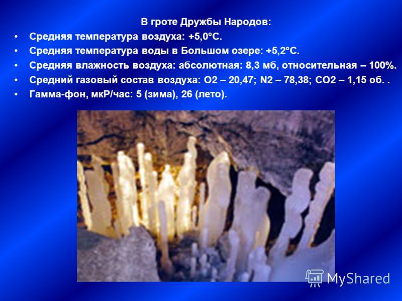 В гроте Дружбы Народов: Средняя температура воздуха: +5,0°С. Средняя температура воды в Большом озере: +5,2°С. Средняя влажность воздуха: абсолютная: 8,3 мб, относительная – 100%. Средний газовый состав воздуха: О2 – 20,47; N2 – 78,38; СО2 – 1,15 об.
