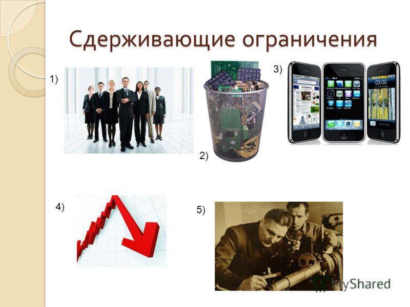 Сдерживающие ограничения 1) 2) 3) 4) 5)