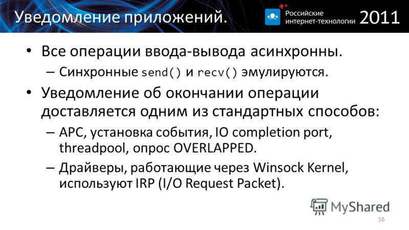 Уведомление приложений. Все операции ввода-вывода асинхронны. – Синхронные send() и recv() эмулируются. Уведомление об окончании операции доставляется одним из стандартных способов: – APC, установка события, IO completion port, threadpool, опрос OVER