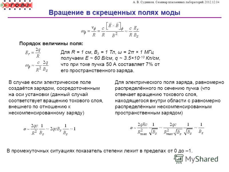 Для R = 1 см, B z = 1 Тл, ω = 2π × 1 МГц получаем E ~ 60 В/см, q ~ 3.5×10 -10 Кл/см, что при токе пучка 50 А составляет 7% от его пространственного заряда. Вращение в скрещенных полях моды А. В. Судников. Семинар плазменных лабораторий. 2012.12.04 По