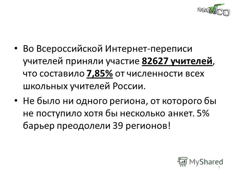 Во Всероссийской Интернет-переписи учителей приняли участие 82627 учителей, что составило 7,85% от численности всех школьных учителей России. Не было ни одного региона, от которого бы не поступило хотя бы несколько анкет. 5% барьер преодолели 39 реги