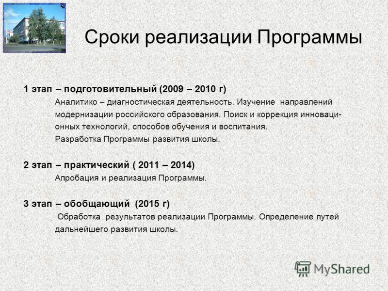 Сроки реализации Программы 1 этап – подготовительный (2009 – 2010 г) Аналитико – диагностическая деятельность. Изучение направлений модернизации российского образования. Поиск и коррекция инноваци- онных технологий, способов обучения и воспитания. Ра