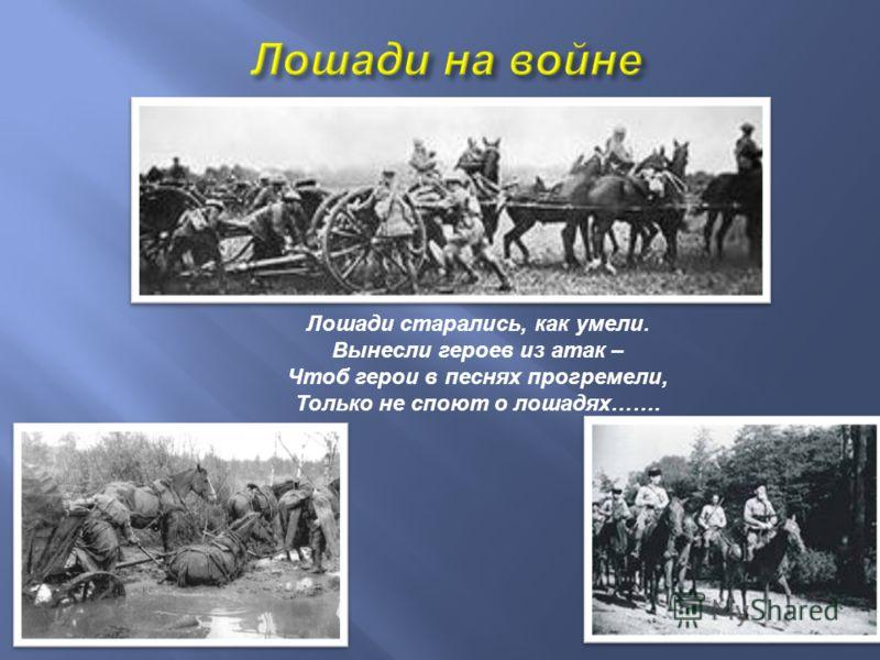 Лошади старались, как умели. Вынесли героев из атак – Чтоб герои в песнях прогремели, Только не споют о лошадях …….