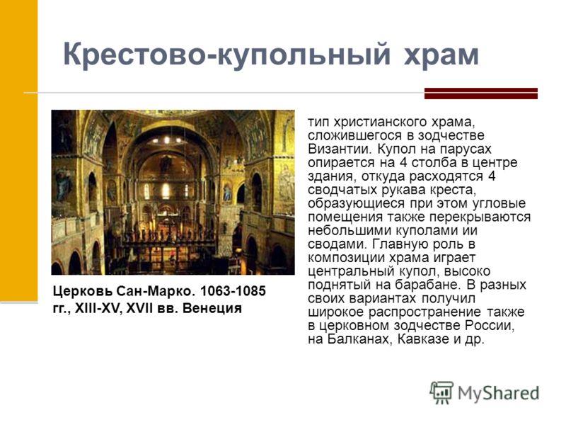 Крестово-купольный храм тип христианского храма, сложившегося в зодчестве Византии. Купол на парусах опирается на 4 столба в центре здания, откуда расходятся 4 сводчатых рукава креста, образующиеся при этом угловые помещения также перекрываются небол