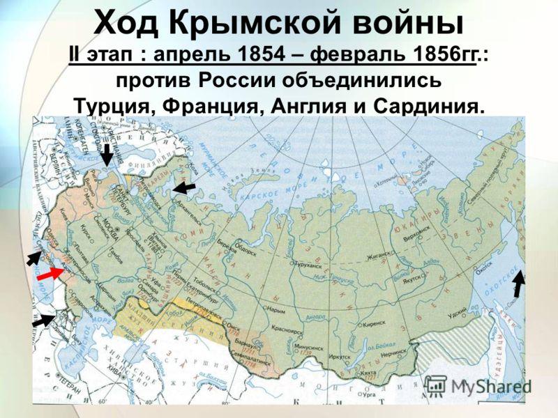 II этап : апрель 1854 – февраль 1856гг.: против России объединились Турция, Франция, Англия и Сардиния. Ход Крымской войны