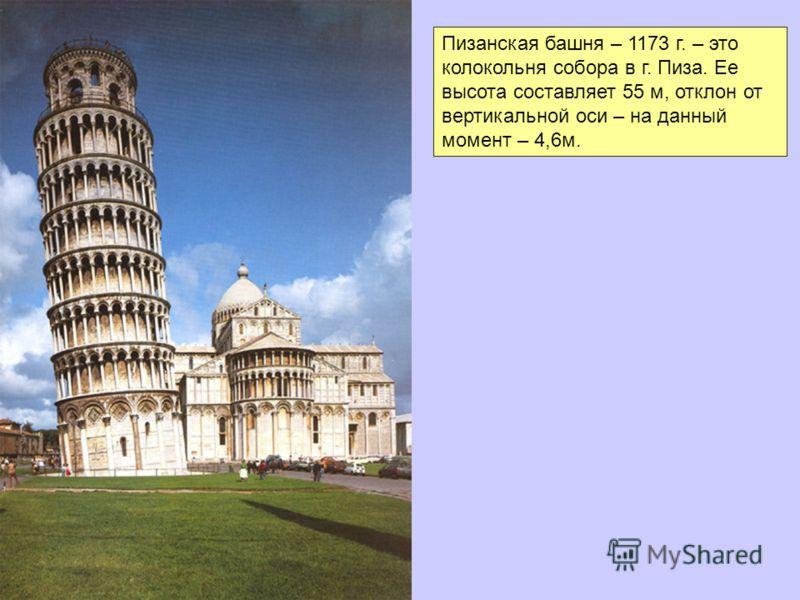 Пизанская башня – 1173 г. – это колокольня собора в г. Пиза. Ее высота составляет 55 м, отклон от вертикальной оси – на данный момент – 4,6м.