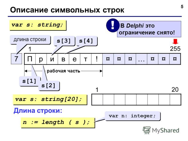 5 Привет!¤¤¤…¤¤¤ 7 1 255 длина строки рабочая часть s[1] s[2] s[3] s[4] var s: string; var s: string[20]; 20 1 Длина строки: n := length ( s ); var n: integer; В Delphi это ограничение снято! ! Описание символьных строк