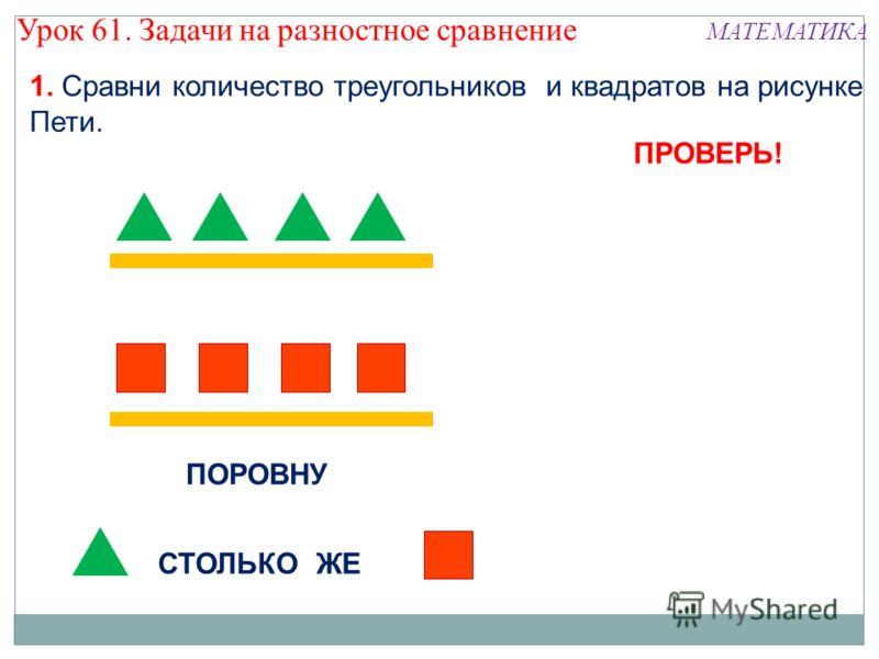 1. Сравни количество треугольников и квадратов на рисунке Пети. ПОРОВНУ СТОЛЬКО ЖЕ МАТЕМАТИКА ПРОВЕРЬ! Урок 61. Задачи на разностное сравнение