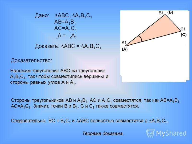 Дано: ABC, A 1 B 1 C 1 AB=A 1 B 1 AC=A 1 C 1 A = A 1 Доказать: ABC = A 1 B 1 C 1 Доказательство: Наложим треугольник АВС на треугольник A1B1C1, так чтобы совместились вершины и стороны равных углов А и А1. Стороны треугольников АВ и А1В1, АС и А1С1 с