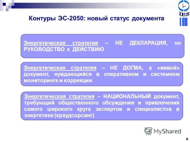 Контуры ЭС-2050: новый статус документа Энергетическая стратегия – НЕ ДЕКЛАРАЦИЯ, но РУКОВОДСТВО к ДЕЙСТВИЮ Энергетическая стратегия – НЕ ДОГМА, а «живой» документ, нуждающийся в оперативном и системном мониторинге и коррекции Энергетическая стратеги