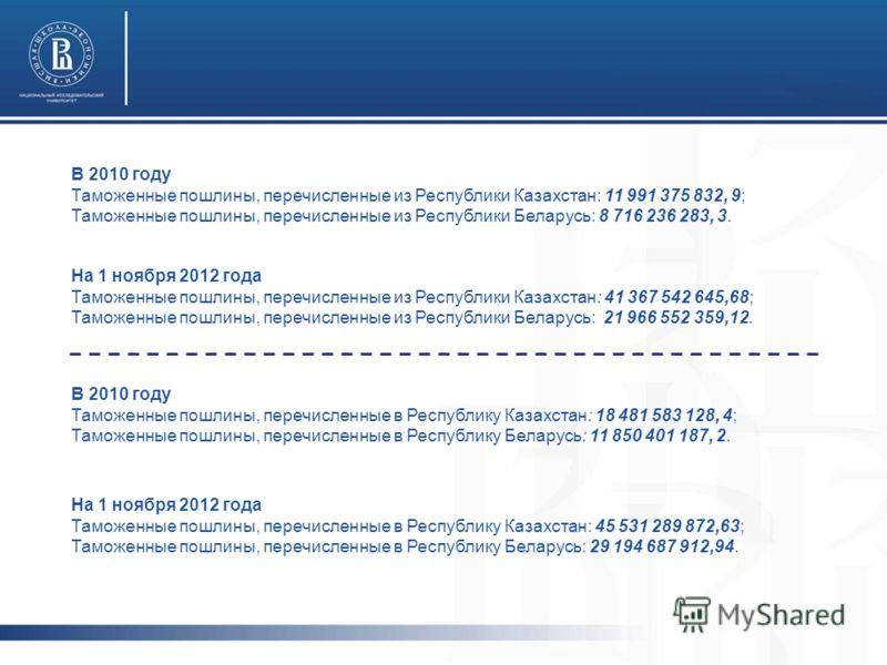В 2010 году Таможенные пошлины, перечисленные из Республики Казахстан: 11 991 375 832, 9; Таможенные пошлины, перечисленные из Республики Беларусь: 8 716 236 283, 3. На 1 ноября 2012 года Таможенные пошлины, перечисленные из Республики Казахстан: 41
