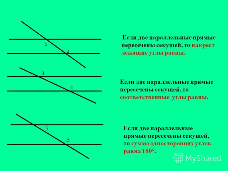 Если две параллельные прямые пересечены секущей, то накрест лежащие углы равны. 1 2 3 4 5 6 Если две параллельные прямые пересечены секущей, то соответственные углы равны. Если две параллельные прямые пересечены секущей, то сумма односторонних углов