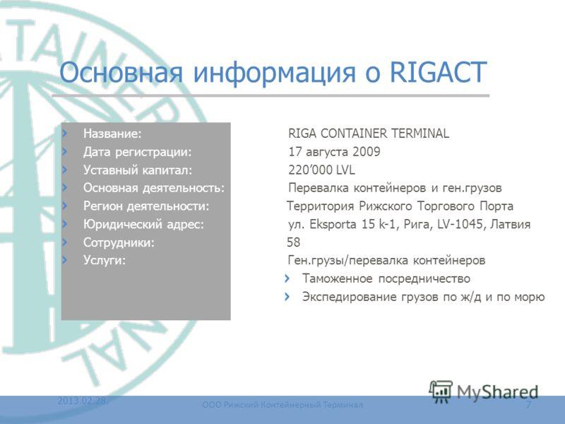 Основная информация о RIGACT Название: RIGA CONTAINER TERMINAL Дата регистрации: 17 августа 2009 Уставный капитал: 220000 LVL Основная деятельность: Перевалка контейнеров и ген.грузов Регион деятельности: Территория Рижского Торгового Порта Юридическ