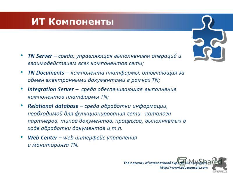 The network of international experts «Souzconsalt» http://www.souzconsalt.com ИТ Компоненты TN Server – среда, управляющая выполнением операций и взаимодействием всех компонентов сети; TN Documents – компонента платформы, отвечающая за обмен электрон