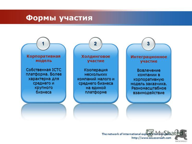 The network of international experts «Souzconsalt» http://www.souzconsalt.com Формы участия 1 Корпоративная модель Собственная ICTC платформа. Более характерна для среднего и крупногобизнеса 2 3 Холдинговое участие Кооперация нескольких компаний мало