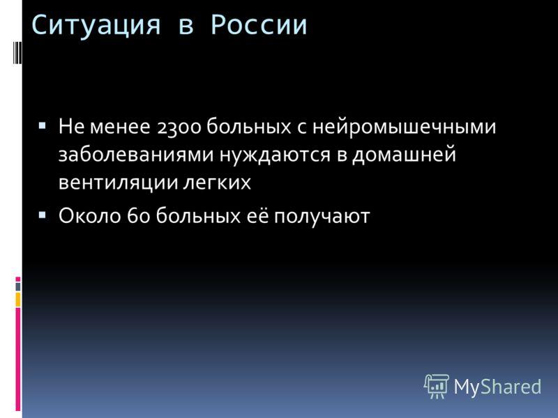 Ситуация в России Не менее 2300 больных с нейромышечными заболеваниями нуждаются в домашней вентиляции легких Около 60 больных её получают