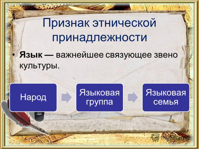 Признак этнической принадлежности Язык важнейшее связующее звено культуры. Народ Языковая группа Языковая семья