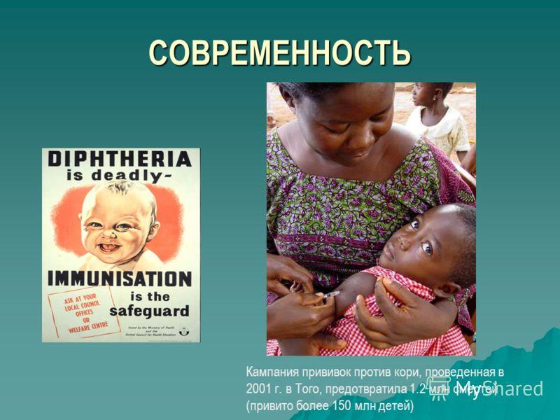 СОВРЕМЕННОСТЬ Кампания прививок против кори, проведенная в 2001 г. в Того, предотвратила 1.2 млн смертей (привито более 150 млн детей)