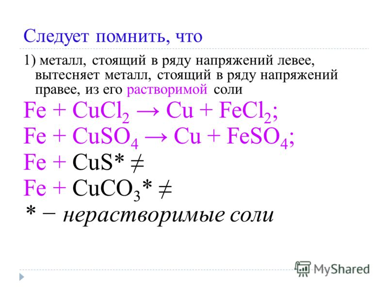 Следует помнить, что 1) металл, стоящий в ряду напряжений левее, вытесняет металл, стоящий в ряду напряжений правее, из его растворимой соли Fe + CuCl 2 Cu + FeCl 2 ; Fe + CuSO 4 Cu + FeSO 4 ; Fe + CuS* Fe + CuСO 3 * * нерастворимые соли