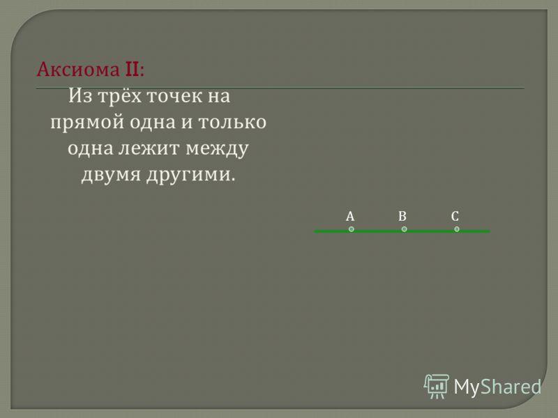 А ксиома II: Из т рёх т очек н а прямой о дна и т олько одна л ежит м ежду двумя д ругими. АВС