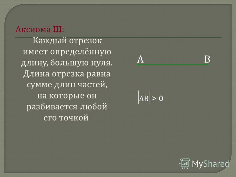 А ксиома III: К аждый о трезок имеет о пределённую длину, б ольшую н уля. Длина о трезка р авна сумме д лин ч астей, на к оторые о н разбивается л юбой его т очкой. АВ АВ > 0