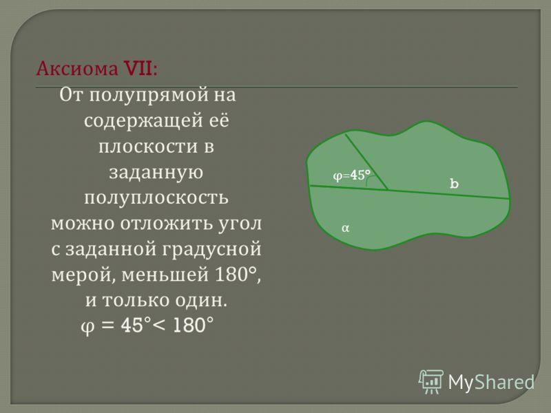 А ксиома VII: От п олупрямой н а содержащей е ё плоскости в заданную полуплоскость можно о тложить у гол с з аданной г радусной мерой, м еньшей 180°, и т олько о дин. φ = 45°< 180° α b φ=45°φ=45°