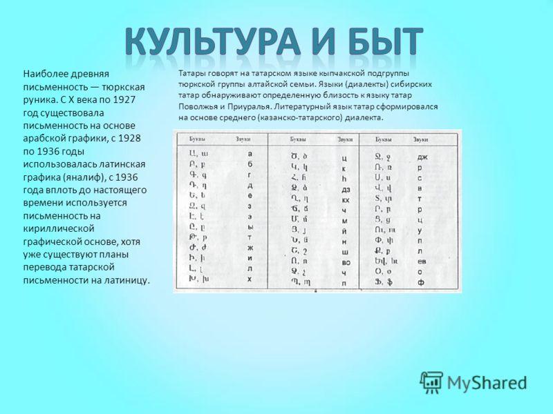 Наиболее древняя письменность тюркская руника. С X века по 1927 год существовала письменность на основе арабской графики, с 1928 по 1936 годы использовалась латинская графика (яналиф), с 1936 года вплоть до настоящего времени используется письменност