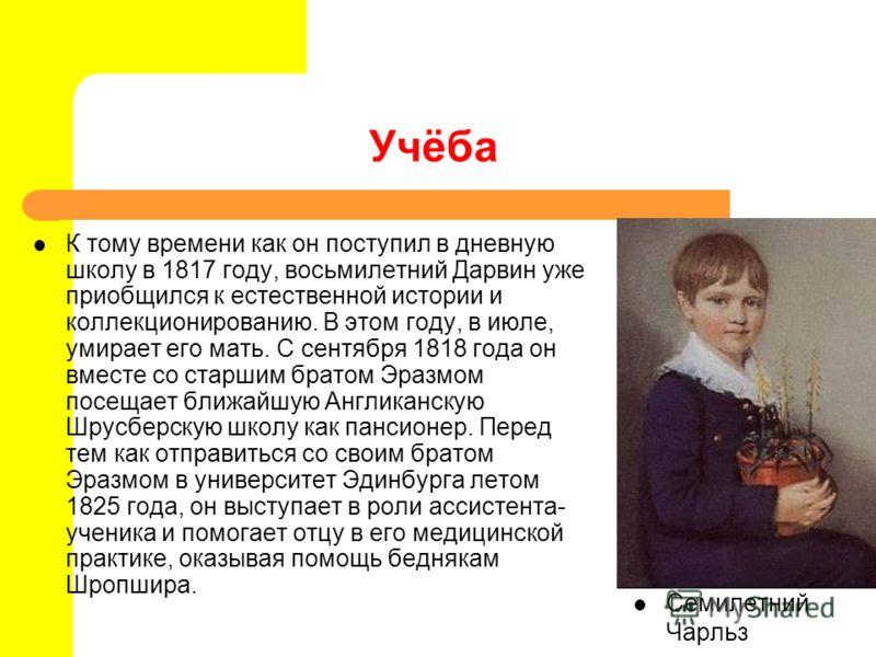 Учёба К тому времени как он поступил в дневную школу в 1817 году, восьмилетний Дарвин уже приобщился к естественной истории и коллекционированию. В этом году, в июле, умирает его мать. С сентября 1818 года он вместе со старшим братом Эразмом посещает