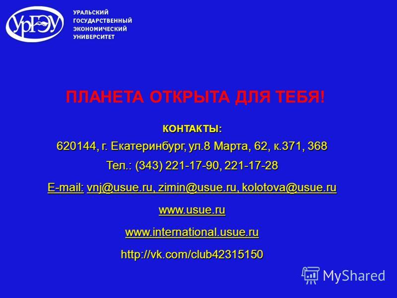 КОНТАКТЫ: 620144, г. Екатеринбург, ул.8 Марта, 62, к.371, 368 Тел.: (343) 221-17-90, 221-17-28 E-mail: vnj@usue.ru, zimin@usue.ru, kolotova@usue.ru www.usue.ruwww.international.usue.ruhttp://vk.com/club42315150 ПЛАНЕТА ОТКРЫТА ДЛЯ ТЕБЯ!