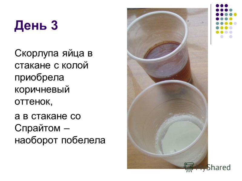 День 3 Скорлупа яйца в стакане с колой приобрела коричневый оттенок, а в стакане со Спрайтом – наоборот побелела