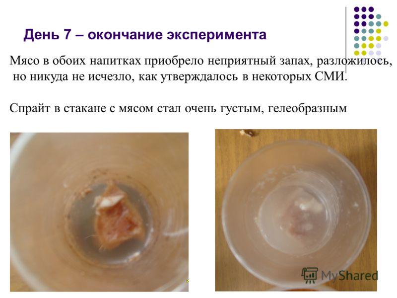 Мясо в обоих напитках приобрело неприятный запах, разложилось, но никуда не исчезло, как утверждалось в некоторых СМИ. Спрайт в стакане с мясом стал очень густым, гелеобразным День 7 – окончание эксперимента