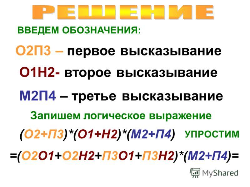 ВВЕДЕМ ОБОЗНАЧЕНИЯ: О2П3 – первое высказывание О1Н2- второе высказывание М2П4 – третье высказывание Запишем логическое выражение (О2+П3)*(О1+Н2)*(М2+П4) УПРОСТИМ =(О2О1+О2Н2+П3О1+П3Н2)*(М2+П4)=