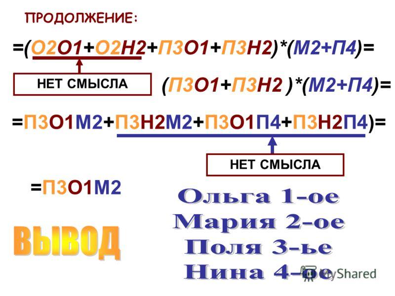 ПРОДОЛЖЕНИЕ: =(О2О1+О2Н2+П3О1+П3Н2)*(М2+П4)= НЕТ СМЫСЛА (П3О1+П3Н2 )*(М2+П4)= =П3О1М2+П3Н2М2+П3О1П4+П3Н2П4)= НЕТ СМЫСЛА =П3О1М2