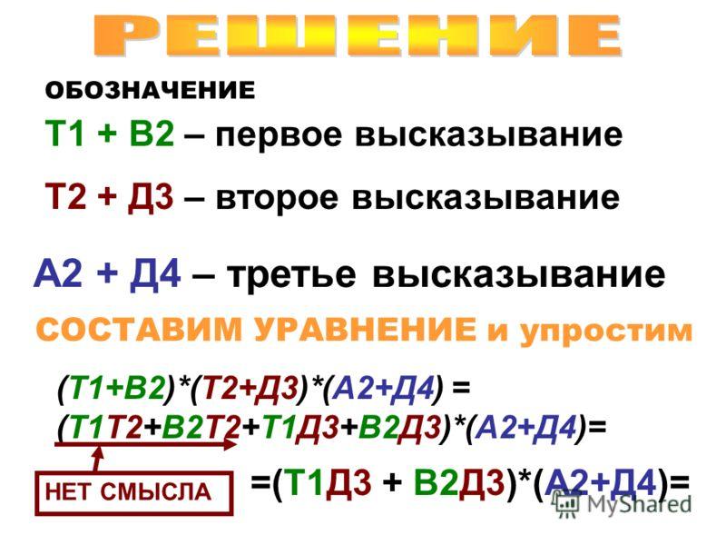 ОБОЗНАЧЕНИЕ Т1 + В2 – первое высказывание Т2 + Д3 – второе высказывание А2 + Д4 – третье высказывание СОСТАВИМ УРАВНЕНИЕ и упростим (Т1+В2)*(Т2+Д3)*(А2+Д4) = (Т1Т2+В2Т2+Т1Д3+В2Д3)*(А2+Д4)= НЕТ СМЫСЛА =(Т1Д3 + В2Д3)*(А2+Д4)=