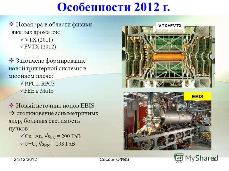 24/12/2012Сессия ОФВЭ4 EBIS VTX+FVTX Особенности 2012 г. Новая эра в области физики тяжелых ароматов: VTX (2011) FVTX (2012) Закончено формирование новой триггерной системы в мюонном плече: RPC1, RPC3 FEE в MuTr Новый источник ионов EBIS столкновение