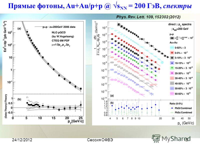 24/12/2012Сессия ОФВЭ5 Прямые фотоны, Au+Au/p+p @ s NN = 200 ГэВ, спектры Phys. Rev. Lett. 109, 152302 (2012)